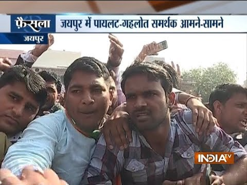 Sachin Pilots supporters gather outside Congress office in Jaipur, demands CM post for him