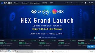 AIRDROP I GET 20$ INSTANT AT GX.COM I 20$ USDT GUARANTEED & 740,740 HEX TOKEN IN REWARD POLL I