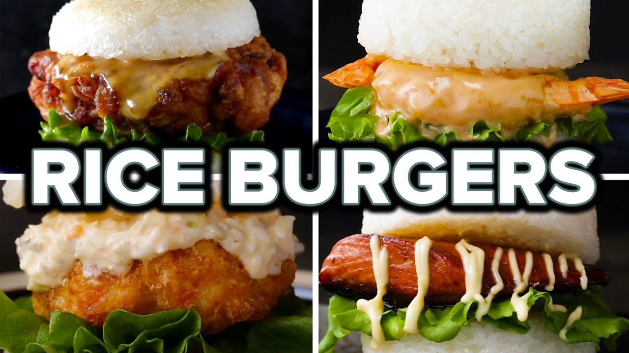 Japanese Rice Burgers 4 Ways Youtube