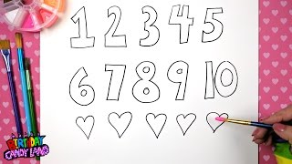 How to Draw and Color Numbers from 1 to 10 Coloring Page for Kids 💜