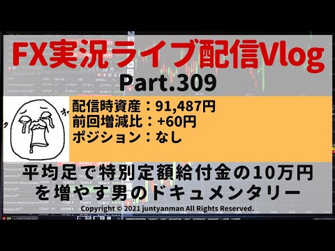 【FX実況ライブ配信Vlog】平均足で特別定額給付金の10万円を増やす男のドキュメンタリーPart.309