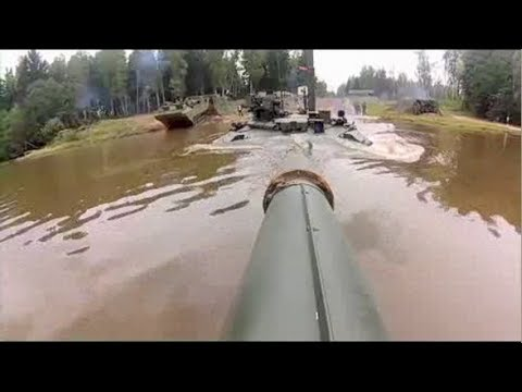 T-90 Tank Diving Under Water - Great Footage