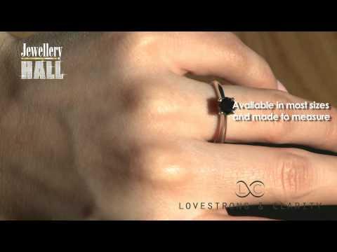 One Carat Black Diamond Solitaire Ring