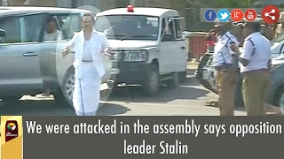 DMK MK Stalin wearing Torn Shirt Comes Out From TN Trust Vote Assembly