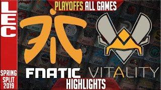 FNC vs VIT ALL GAMES Highlights | LEC Playoffs Spring 2019 Round 1 | Fnatic vs Vitality