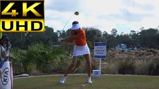 MICHELLE WIE 4K UHD - FACE ON SLOW MOTION & REGULAR DRIVER GOLF SWING