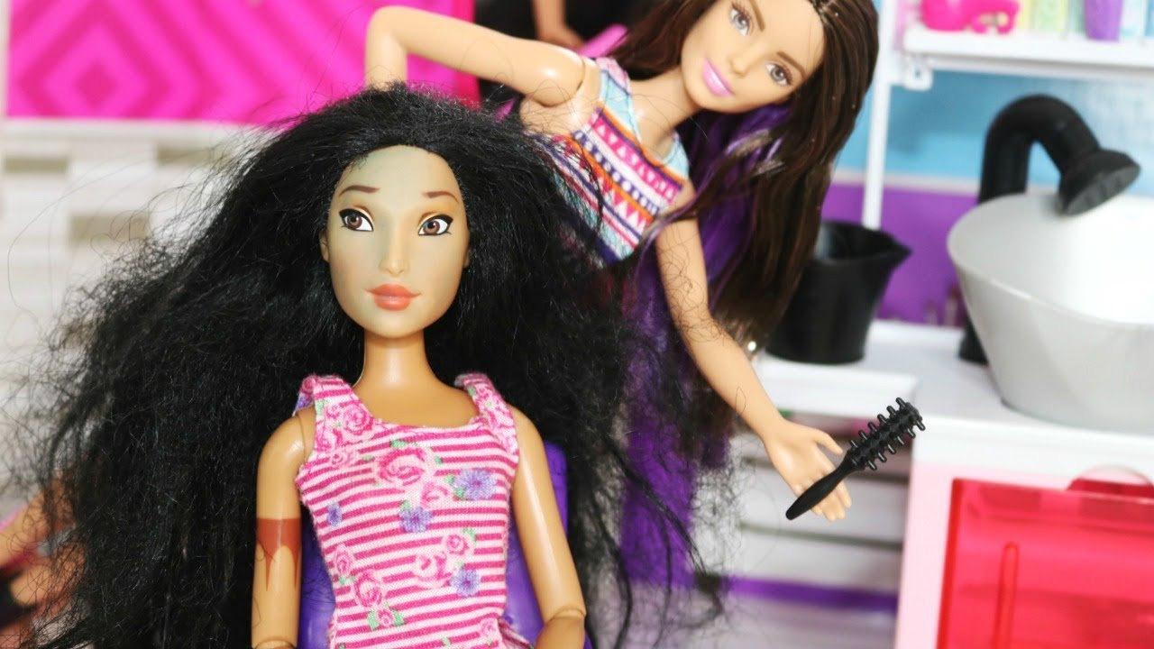 salon de coiffure barbie coupe relooking pocahontas disney princess restyle hair doll youtube