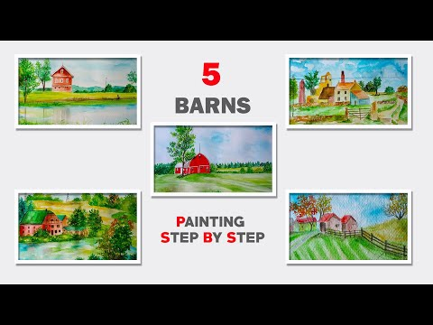 How to Paint Barn In Watercolor Painting for Beginners Easy Drawing Farm  House Building Tutorials