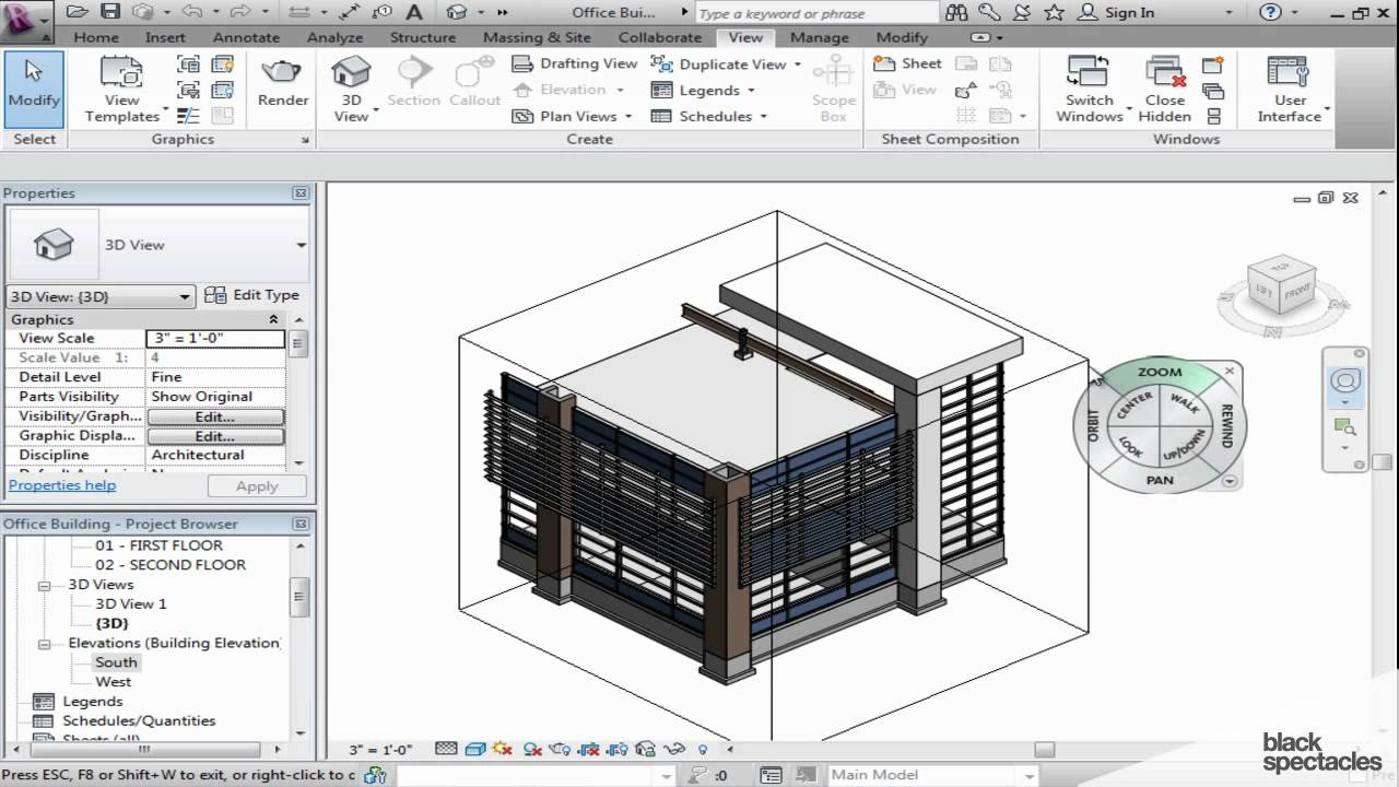Revit Tutorial View Cube And Perspective View Black