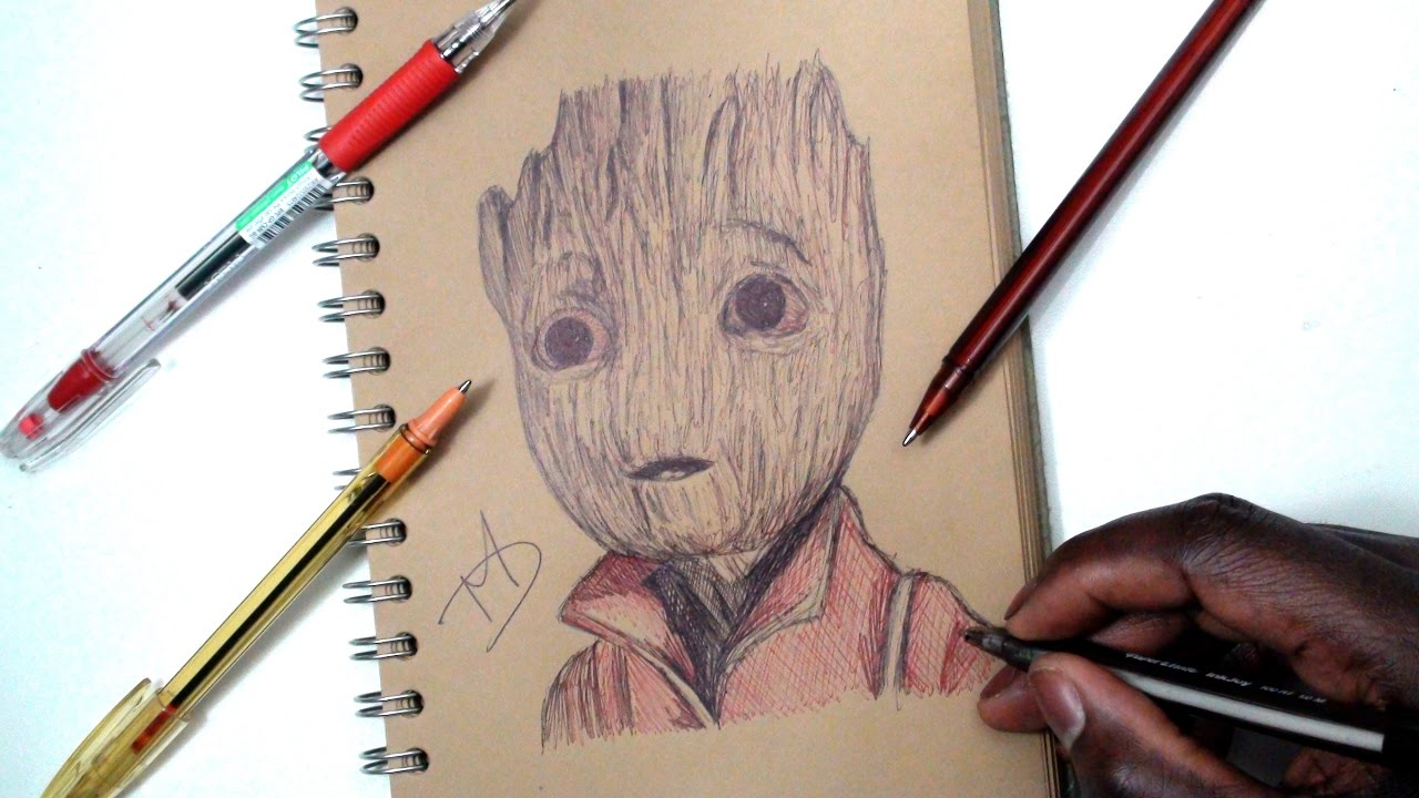 Sketch Sunday 22 How To Draw Baby Groot Guardians Of The Galaxy 2