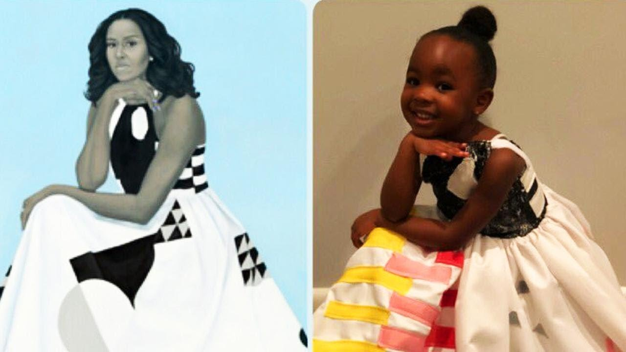toddler in awe of michelle obama's portrait dresses up as her for