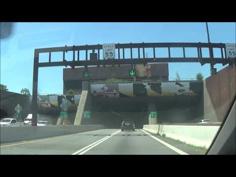 Driving through Downtown Baltimore, MD on Interstate 95 South