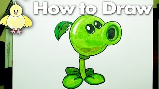 Drawing: How To Draw a PeaShooter Plant  - Plants Versus Zombies
