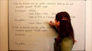 Natürliche Zahlen, runden, kleinste und größte Zahl, Beispiel