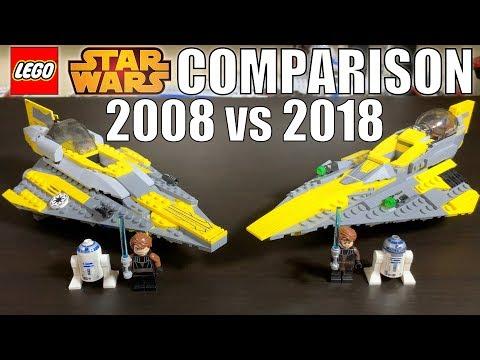 LEGO Star Wars Anakin's Jedi Starfighter Comparison! 2008 VS. 2018! 7669 VS. 75214!