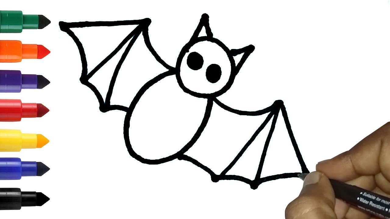 How To Draw A Bat In Easy Easy Bird Drawing And Coloring Pages For Children Youtube