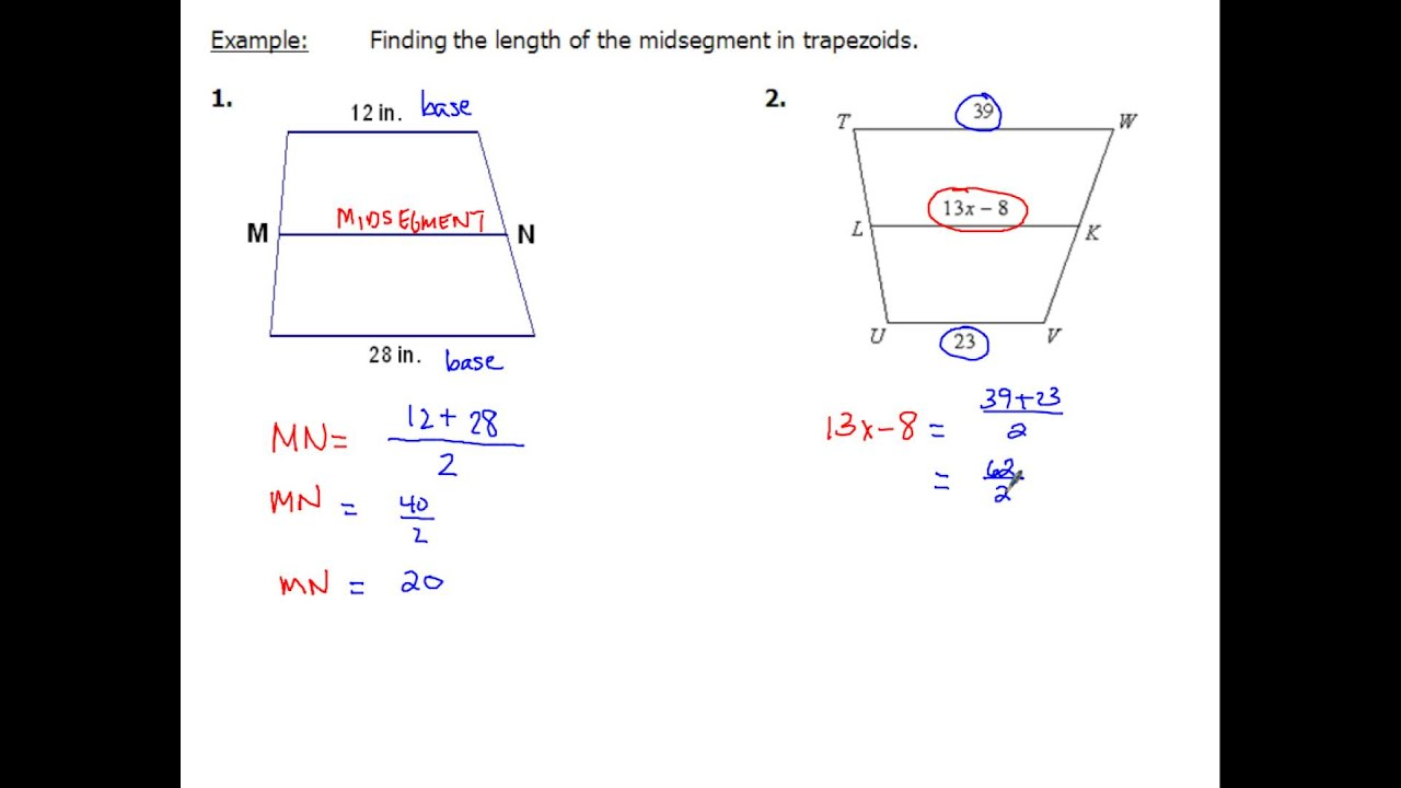85 Trapezoids And Segment Lengths