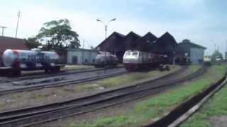 Indonesian Railway : Leaving Kertapati Station in Palembang