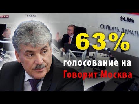 Ведущий в шоке. За Грудинина 63% в голосовании на Говорит Москва.