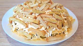 Вкусный Салат со Шпротами и Сухариками. Салат с сухариками простой рецепт.