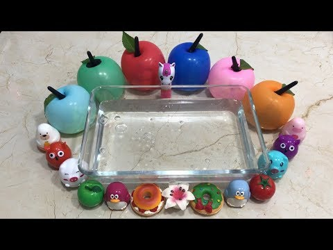 Mixing Lip Balm and Pom Poms Into Clear Slime | Relaxing Slime with Balloons Apples | Tom Slime