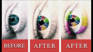 Six Colors Eyes And Eyebrow Effect On photo shop Tutorial