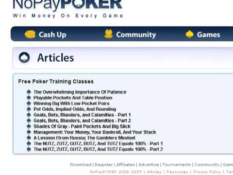 How to Get Free Online Poker Training Education for Beginners and Beyond at NoPayPOKER.com