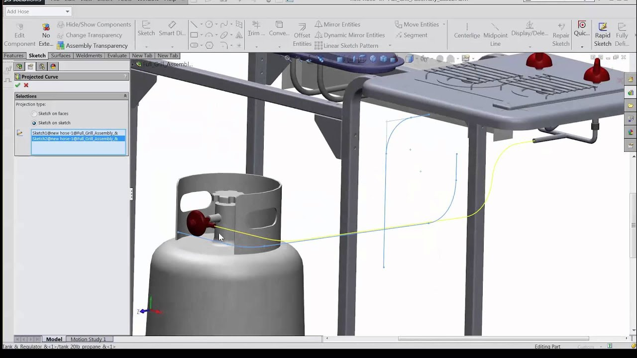 SOLIDWORKS – Projected Curve – Sketch on faces and Sketch on sketch