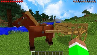 How to Get HORSE CARTS in Minecraft TUTORIAL! (Horse Wagon Mod)