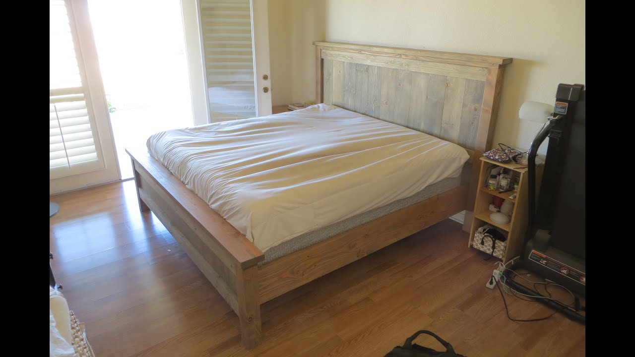 Farmhouse style kingsize bed youtube for Bed styles images