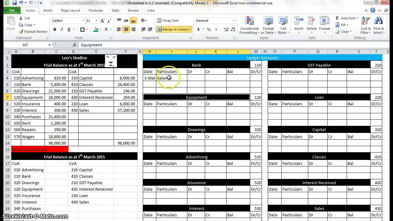 set up of ledgers in excel youtube