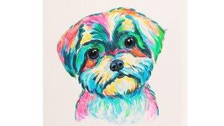 Как нарисовать  собачку  неоновой  гуашью  Уроки рисования