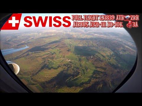 Swiss Airbus A321 HB-IOK  Full Flight LX1839 ATH-ZRH