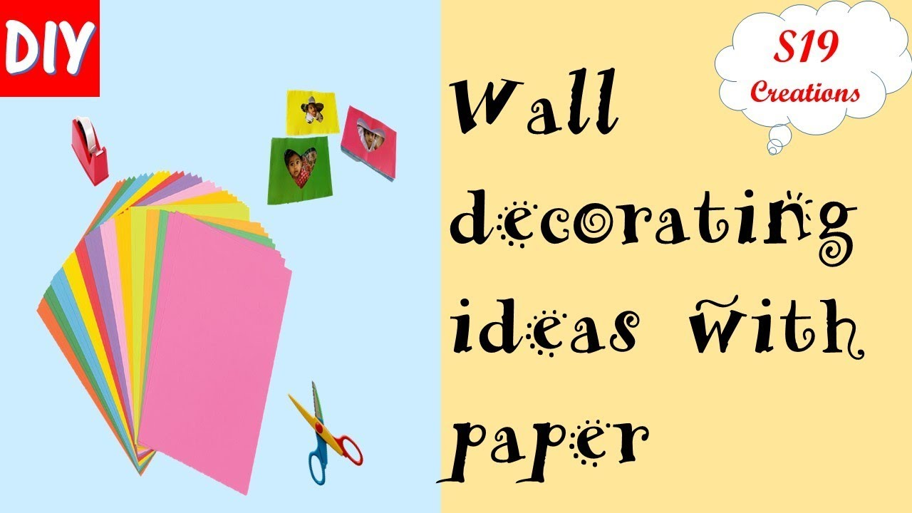 DIY   Room decorating ideas with paper   wall hanging with paper ...