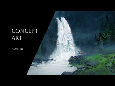 Hunter | Waterfall Landscape Painting for Beginners : Concept art process  in Photoshop