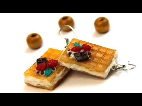 DIY Earrings | Waffles | Miniature Food - Polymer Clay Tutotial