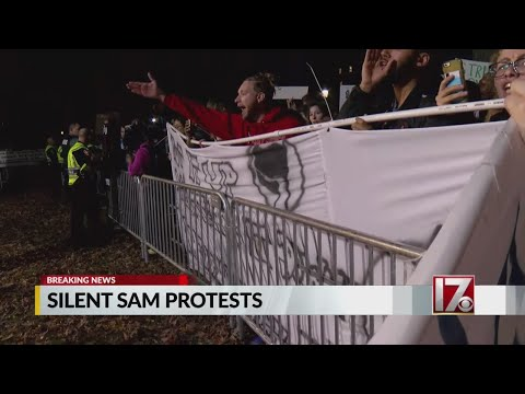 Protesters march at UNC in opposition of chancellor's plan for 'Silent Sam'