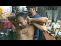 Deep tissue massage by hard working Indian barber   Street ASMR   neck & body cracking