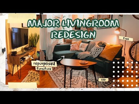 Budget Small Livingroom Redesign! Re-purposing Existing Furniture! ☃