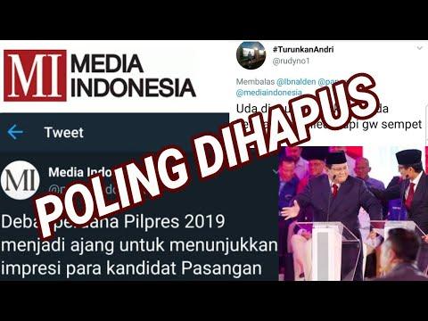 PRABOWO SANDI MENANG, POLLING DIHAPUS MEDIA INDONESIA;DEBAT CAPRES;DEBAT PILPRES 2019;PRABOWO SANDI;