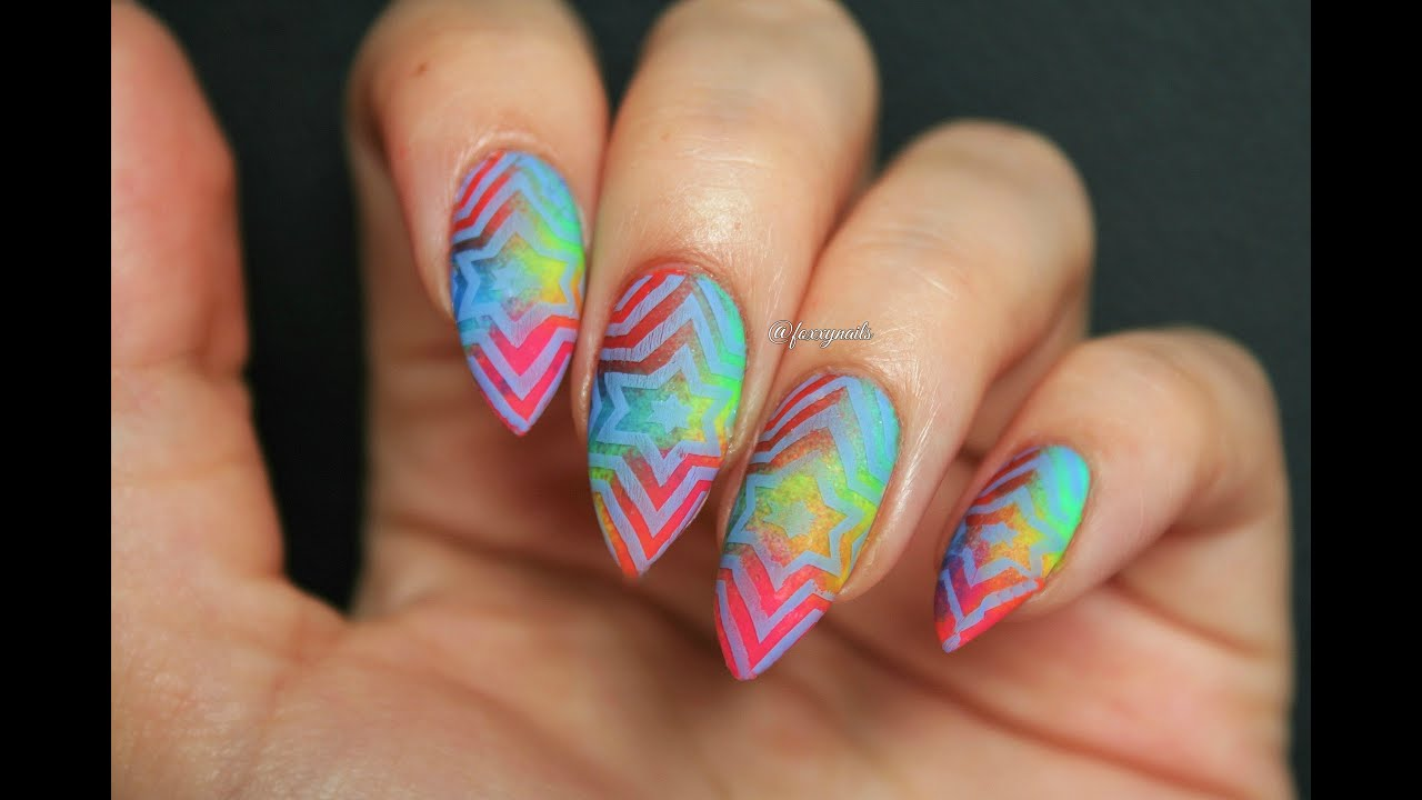 Neon Gradient With Reverse Stamping Psychedelic Nail Art Youtube