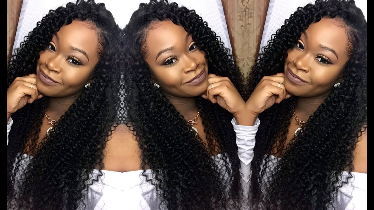 deep side part w/ curly hair quick-weave | install & blending | ms here  hair company