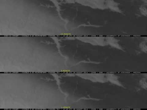 GOES-14 One-Minute Visible Imagery Of River Valley Fog Dissipation On August 20, 2014