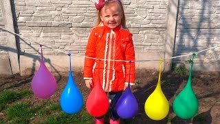 Learn Numbers and Colors with Big Water Balloons for Families, Children and Toddlers
