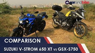 Suzuki V-Strom 650 XT Vs Suzuki GSX-S750 | NDTV carnadbike