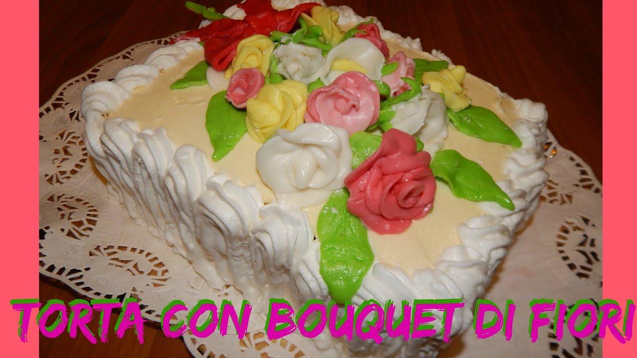 Mazzo Di Fiori Con Pasta Di Zucchero.Torta Con Bouquet Di Fiori In Pasta Di Zucchero Nunzia Valenti