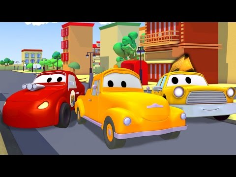 Tom la Grúa con el Taxi, Coche de Carreras, Camión de Bomberos, Coche de Policía en Auto City