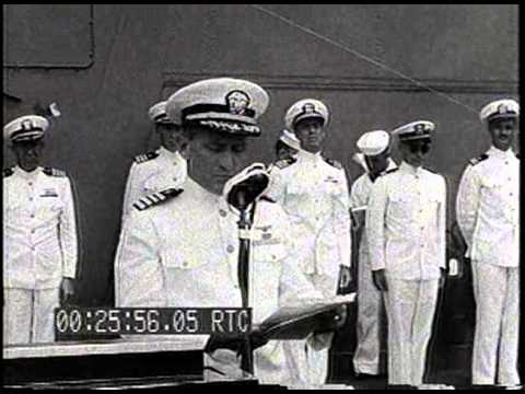 ADM. NIMITZ READS PRESIDENTIAL CITATION ABOARD USS ENTERPRISE