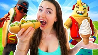 Eating ONLY Fortnite FOOD SKINS for 24 HOURS Challenge!