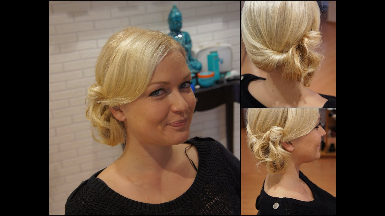 COMO HACER UN RECOGIDO LATERAL Side swept rolled updo hairstyle